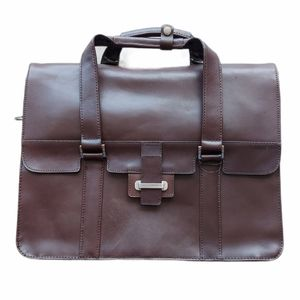 """NWT Cutter & Buck 12.5"""" Brown Leather Briefcase"""